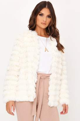 I SAW IT FIRST Cream Faux Fur Fringed Jacket