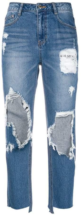 Sjyp Destroyed cut boyfriend jeans