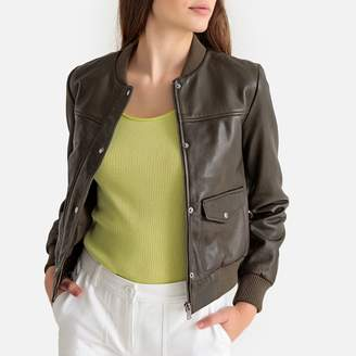 La Redoute Collections Short Leather Bomber Jacket with Pockets