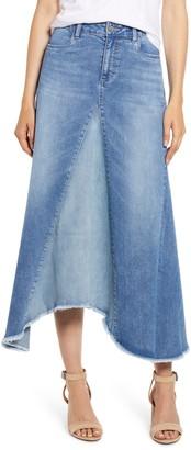 WASH LAB Pieced Denim Midi Skirt
