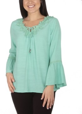 NY Collection Women's Plus Size Crochet Trimmed V-Neck Blouse