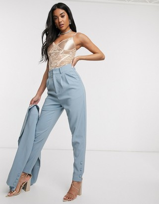 4th + Reckless high waisted suit trouser in blue