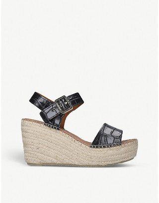 Carvela Kape croc-embossed leather wedge sandals