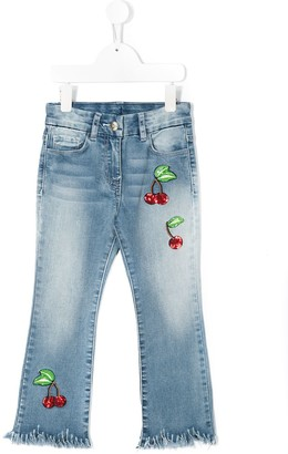 MonnaLisa Sequinned Embroidered Cherries Jeans