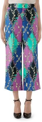 Gucci Rhombus Print Silk Pajama Trousers