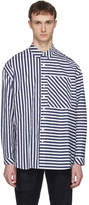 Sunnei Navy and White Asymmetric Stripe Shirt