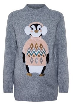 Dorothy Perkins Womens **Maternity Grey Penguin Patterned Christmas Jumper, Grey