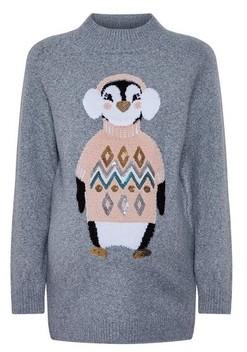 Dorothy Perkins Womens Dp Maternity Grey Penguin Patterned Christmas Jumper, Grey
