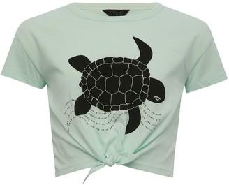 M&Co Teen tie front t-shirt