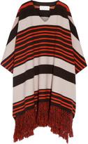Chloé Fringed Striped Wool-blend Poncho - Bright orange