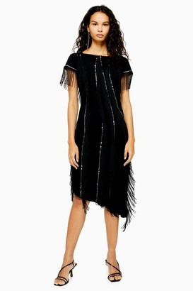 Womens **Black Asymmetric Skirt Midi Dress By Lace & Beads - Black
