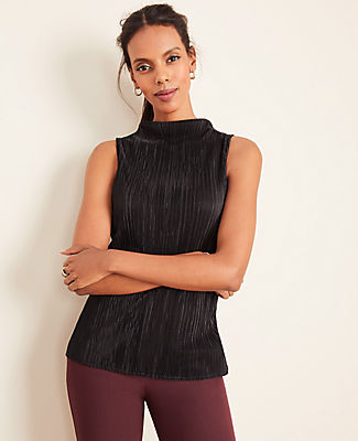 Ann Taylor Micro Pleated Mock Neck Shell