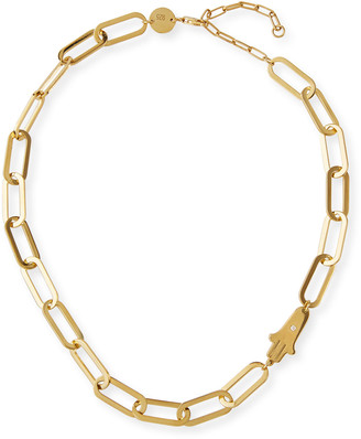 Jennifer Zeuner Jewelry Giselle Necklace with Diamond Hamsa
