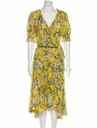 Icons Floral Print Midi Length Dress Yellow Floral Print Midi Length Dress