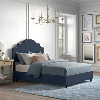 Kelly Clarkson Home Arpeggio Upholstered Standard Bed Size: California King, Color: Polyester Navy