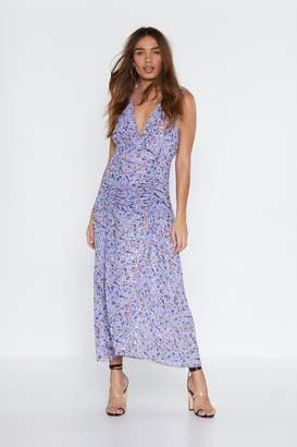 Nasty Gal Womens Ruche Off Floral Dress - purple - 6