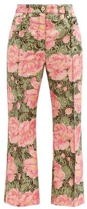 Paco Rabanne Peony-print Swirl-jacquard Cropped Trousers - Pink Print