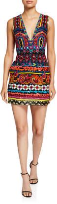 Alice + Olivia Patty Embroidered V-Neck Lantern Dress