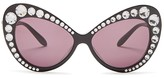 Moschino Swarovski Crystal Cat Eye Sunglasses, 58mm