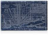Oliver Gal Chicago Railroad Blueprint Map Wall Art, 15 x 10