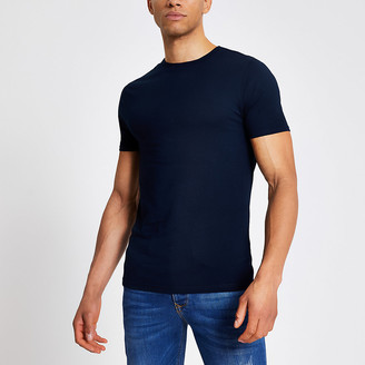 River Island Navy short sleeve muscle fit T-shirt