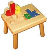 Personalized Wooden Child's Name Puzzle Stool Primary Colors