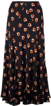 Dvf Diane Von Furstenberg Floral Print Flared Skirt