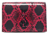 Saint Laurent Toy Kate Snakeskin Monogramme Strap Wallet Bag in Red,Animal Print.