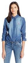 U.S. Polo Assn. Juniors Long Sleeve Denim Shirt in Medium Indigo Wash