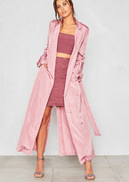 Missy Empire Corrie Pink Silky Maxi Trench Coat