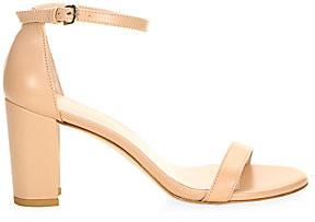 Stuart Weitzman Women's Nearlynude Block-Heel Leather Sandals