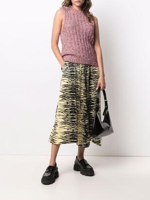 Ganni Zebra-Print Midi Skirt