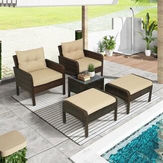 Red Barrel Studioâ® Appiah 5 Piece Rattan Complete Patio Set with Cushions Red Barrel StudioA
