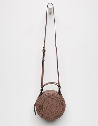 Medallion Studded Perforated Canteen Taupe Round Bag