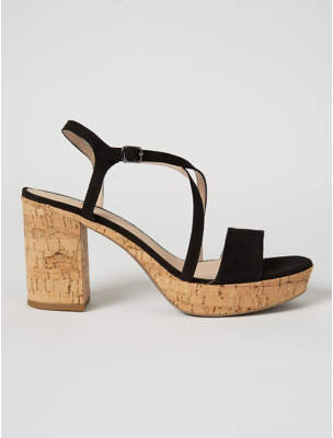 George Black Suede Effect Cork Style Block Heel Sandals