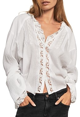 Free People Clemence Lace Trim Button Down Shirt