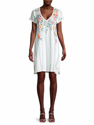 Johnny Was Norah Floral Stripe Tunic Dress