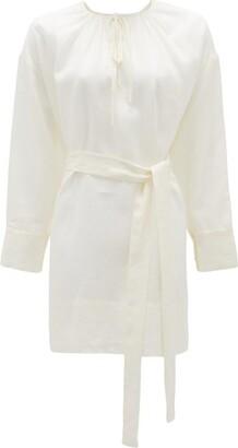 ASCENO Santorini Sand Belted Linen Dress - White