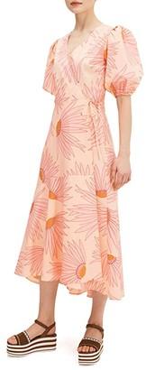 Kate Spade Falling Flower Wrap Dress (Light Guava Juice) Women's Dress