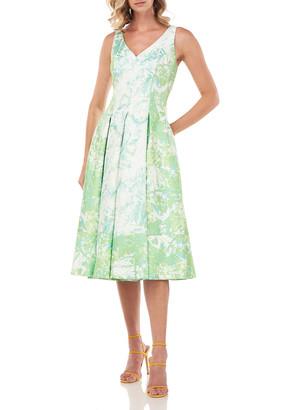 Kay Unger New York Taylor Abstract Jacquard Midi Dress