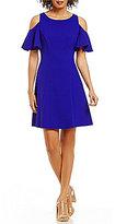Eliza J Short Flutter Sleeve Cold Shoulder Fit & Flare Dress