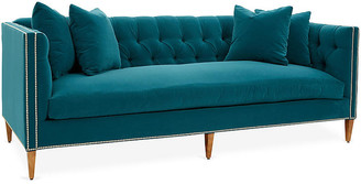 One Kings Lane Moreau Sofa - Peacock Crypton - frame, washed pine; upholstery, peacock; nailheads, pewter