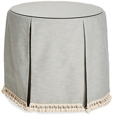 One Kings Lane Eden Round Skirted Table - Mist/Ivory - upholstery, mist/ivory; glass, clear