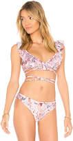 MinkPink Summer Meadow Frill Wrap Bikini Top