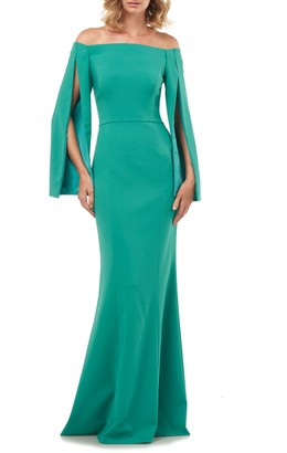 Kay Unger Miriam Cape Sleeve Off the Shoulder Trumpet Gown