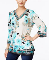 JM Collection Floral-Print Embellished Top, Only at Macy's