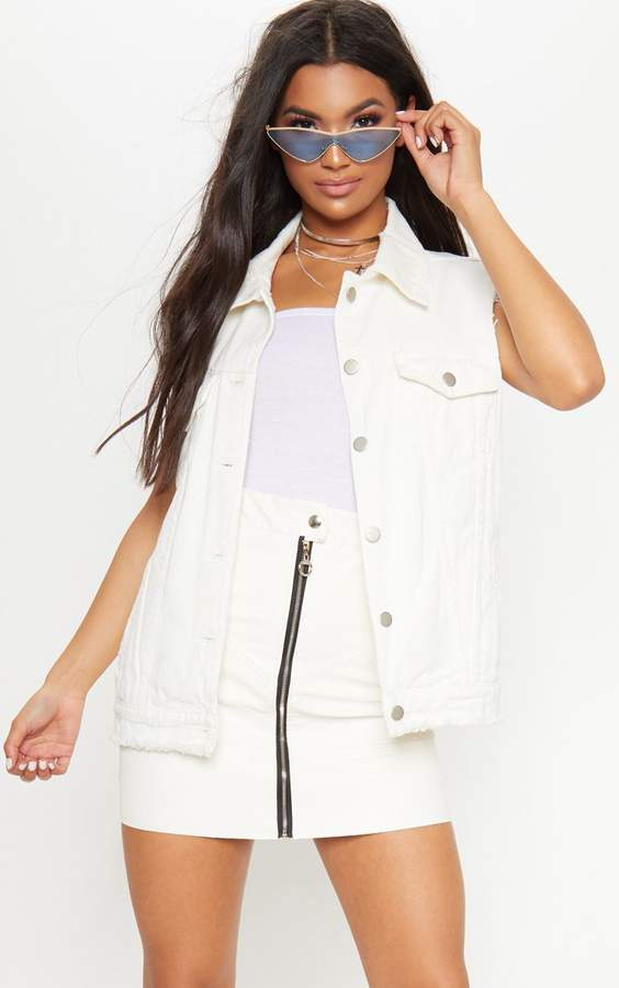 PrettyLittleThing White Sleeveless Distressed Denim Jacket