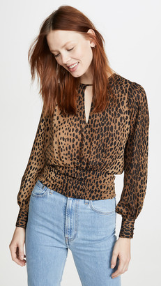 Good American Leopard Keyhole Blouse