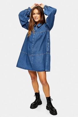 Topshop Womens Petite Mid Blue Denim Babydoll Zip Mini Dress - Mid Stone