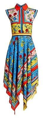 Alice + Olivia Women's Farrah Collared Floral Handkerchief Hem Dress - Size 0